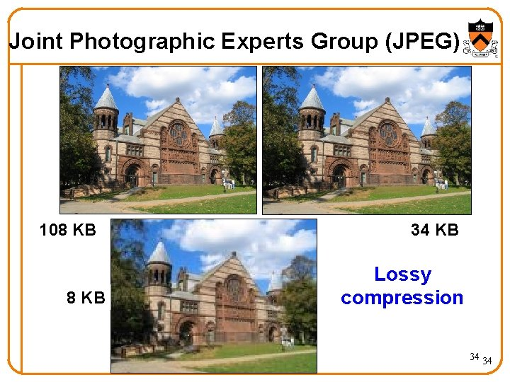 Joint Photographic Experts Group (JPEG) 108 KB 34 KB Lossy compression 34 34