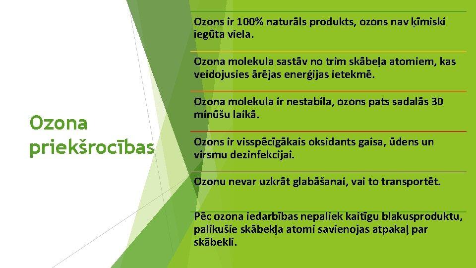 Ozons ir 100% naturāls produkts, ozons nav ķīmiski iegūta viela. Ozona molekula sastāv no