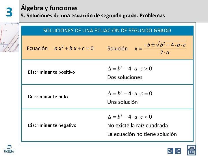 3 Álgebra y funciones 5. Soluciones de una ecuación de segundo grado. Problemas SOLUCIONES