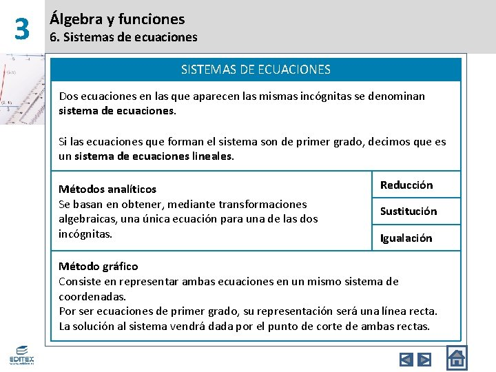 3 Álgebra y funciones 6. Sistemas de ecuaciones SISTEMAS DE ECUACIONES Dos ecuaciones en