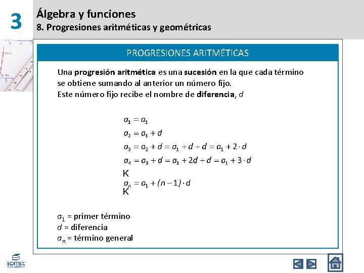 3 Álgebra y funciones 8. Progresiones aritméticas y geométricas PROGRESIONES ARITMÉTICAS Una progresión aritmética