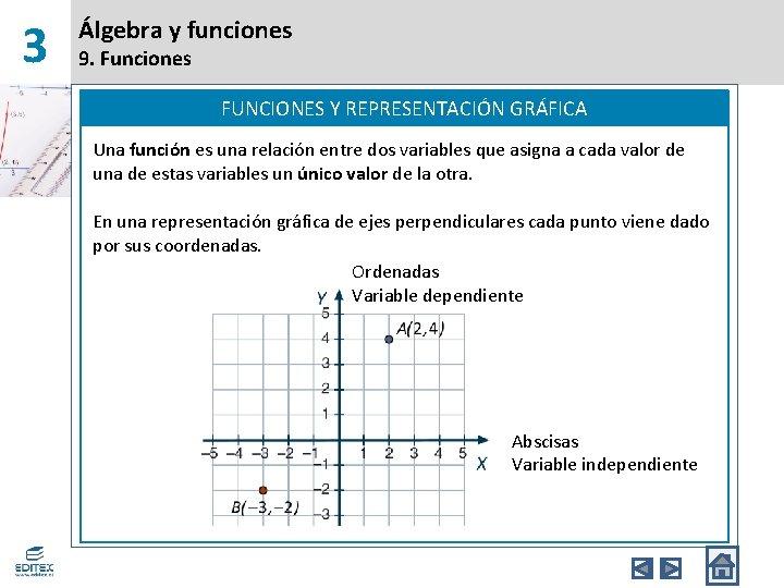 3 Álgebra y funciones 9. Funciones FUNCIONES Y REPRESENTACIÓN GRÁFICA Una función es una