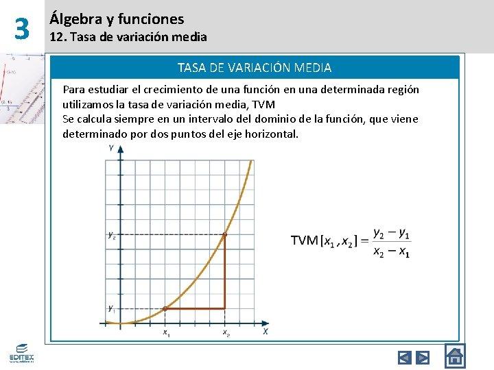 3 Álgebra y funciones 12. Tasa de variación media TASA DE VARIACIÓN MEDIA Para
