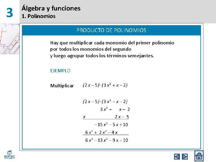 3 Álgebra y funciones 1. Polinomios PRODUCTO DE POLINOMIOS Hay que multiplicar cada monomio