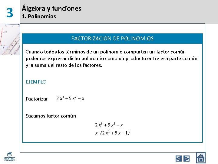 3 Álgebra y funciones 1. Polinomios FACTORIZACIÓN DE POLINOMIOS Cuando todos los términos de