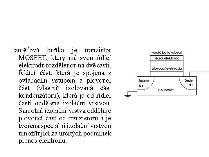 Paměťová buňka je tranzistor MOSFET, který má svou řídící elektrodu rozdělenou na dvě části.