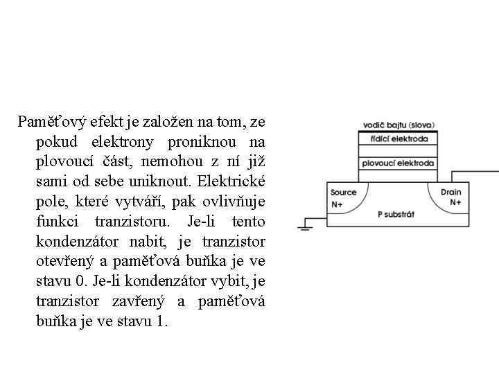 Paměťový efekt je založen na tom, ze pokud elektrony proniknou na plovoucí část, nemohou