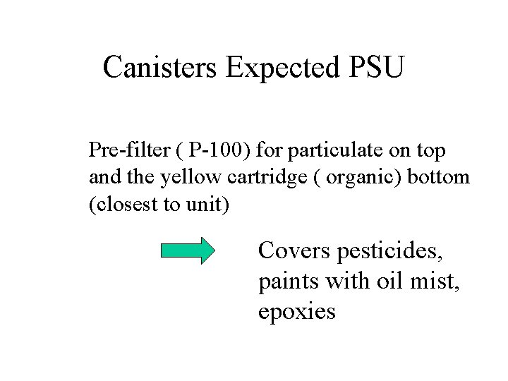 Canisters Expected PSU Pre-filter ( P-100) for particulate on top and the yellow cartridge