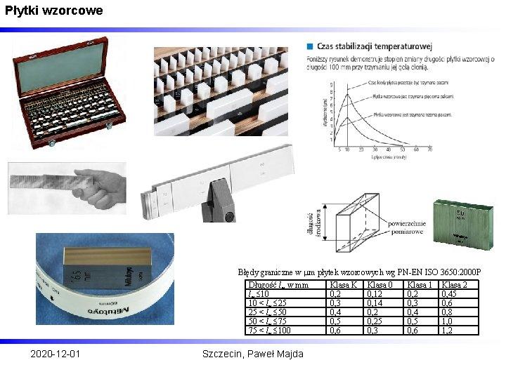 Płytki wzorcowe Błędy graniczne w m płytek wzorcowych wg PN-EN ISO 3650: 2000 P