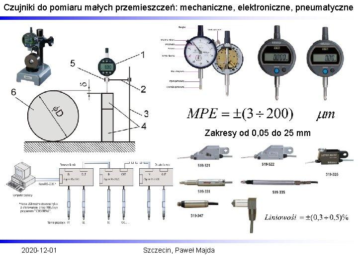 Czujniki do pomiaru małych przemieszczeń: mechaniczne, elektroniczne, pneumatyczne Zakresy od 0, 05 do 25