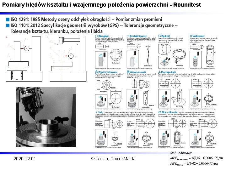 Pomiary błędów kształtu i wzajemnego położenia powierzchni - Roundtest 2020 -12 -01 Szczecin, Paweł
