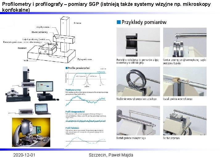 Profilometry i profilografy – pomiary SGP (istnieją także systemy wizyjne np. mikroskopy konfokalne) 2020