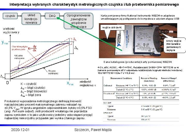 Interpretacja wybranych charakterystyk metrologicznych czujnika i/lub przetwornika pomiarowego czujnik układ kondycjonowania DAQ Oprogramowanie ,