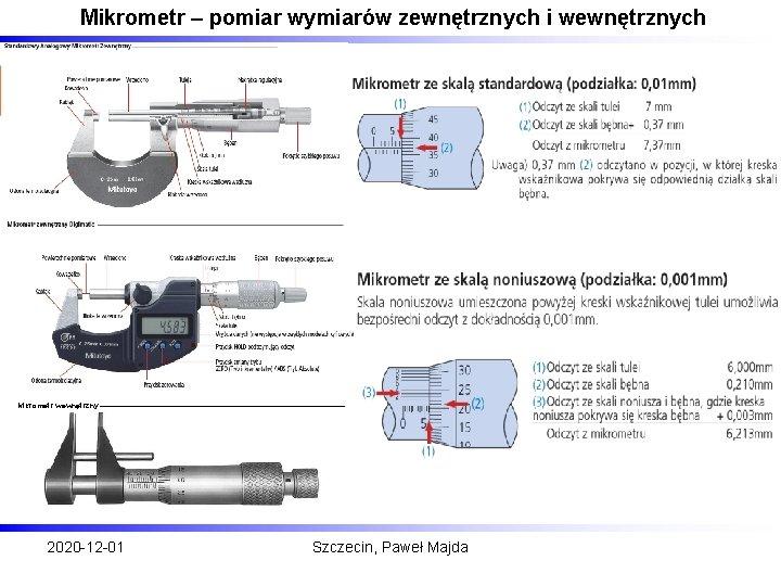 Mikrometr – pomiar wymiarów zewnętrznych i wewnętrznych Mikrometr wewnętrzny 2020 -12 -01 Szczecin, Paweł