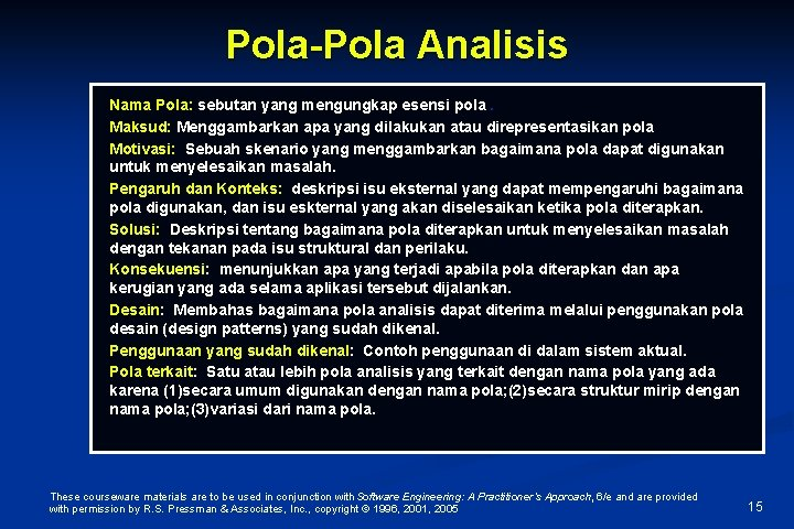 Pola-Pola Analisis Nama Pola: sebutan yang mengungkap esensi pola. Maksud: Menggambarkan apa yang dilakukan