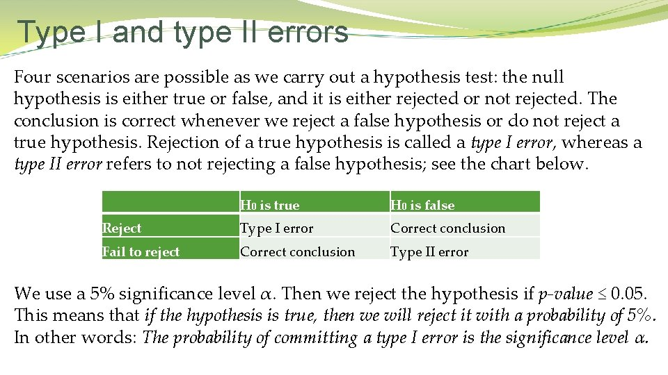 Type I and type II errors Four scenarios are possible as we carry out