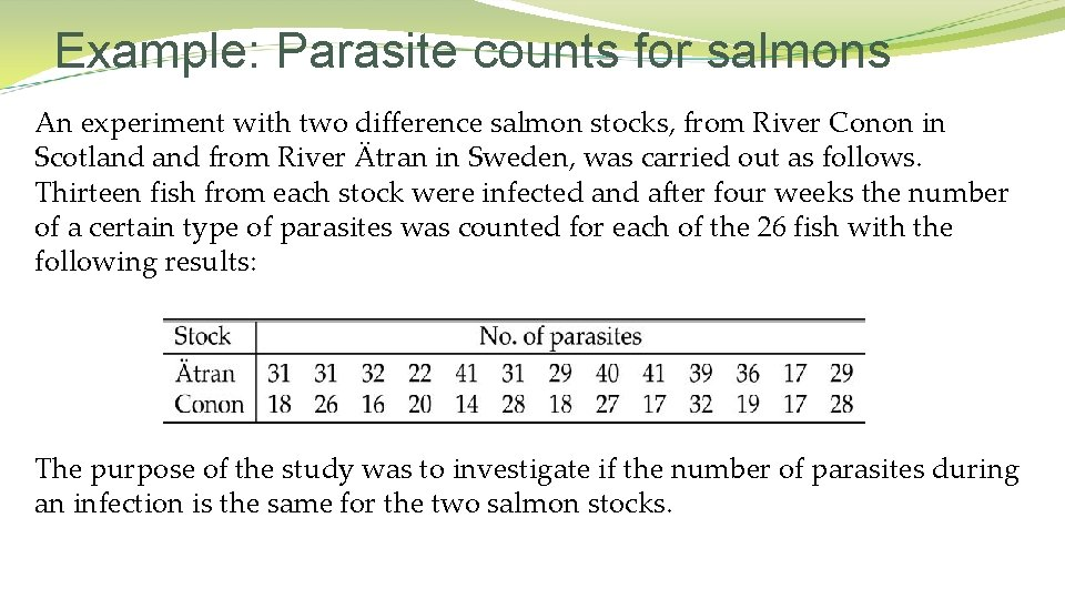 Example: Parasite counts for salmons An experiment with two difference salmon stocks, from River