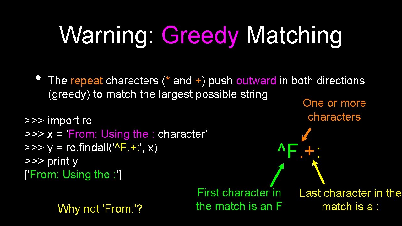 Warning: Greedy Matching • The repeat characters (* and +) push outward in both