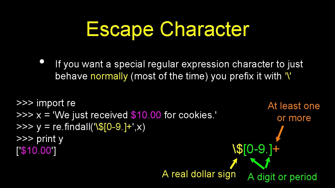 Escape Character • If you want a special regular expression character to just behave