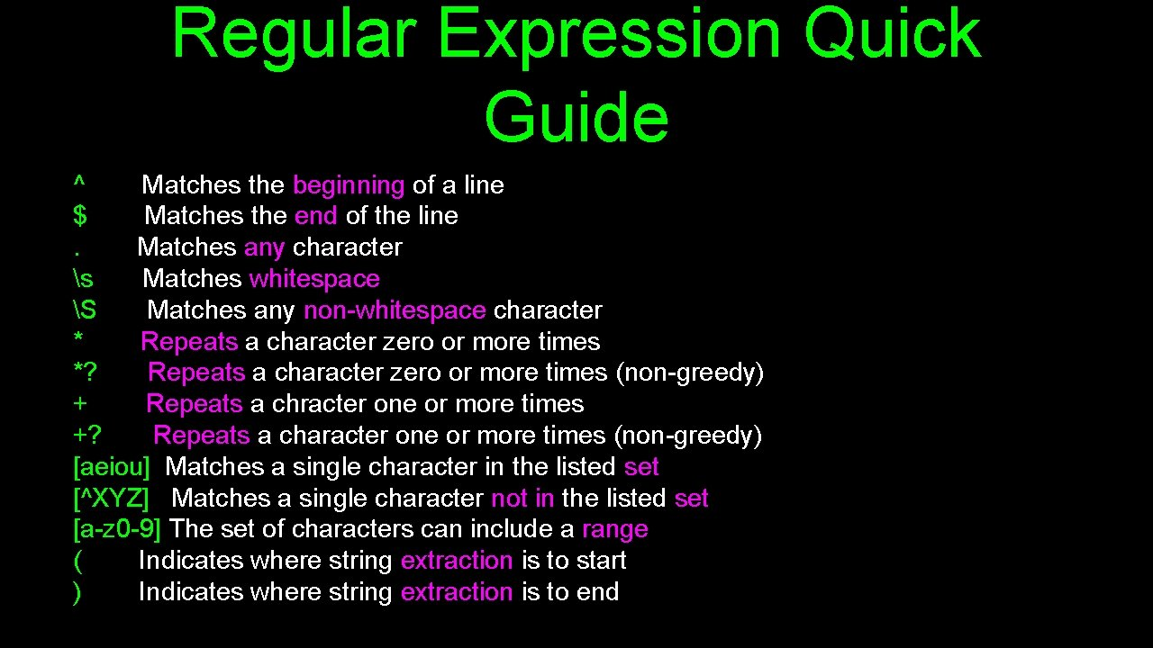 Regular Expression Quick Guide ^ Matches the beginning of a line $ Matches the
