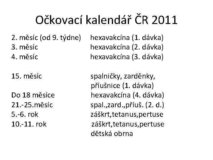 Očkovací kalendář ČR 2011 2. měsíc (od 9. týdne) hexavakcína (1. dávka) 3. měsíc