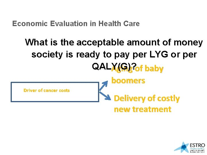 Economic Evaluation in Health Care What is the acceptable amount of money society is