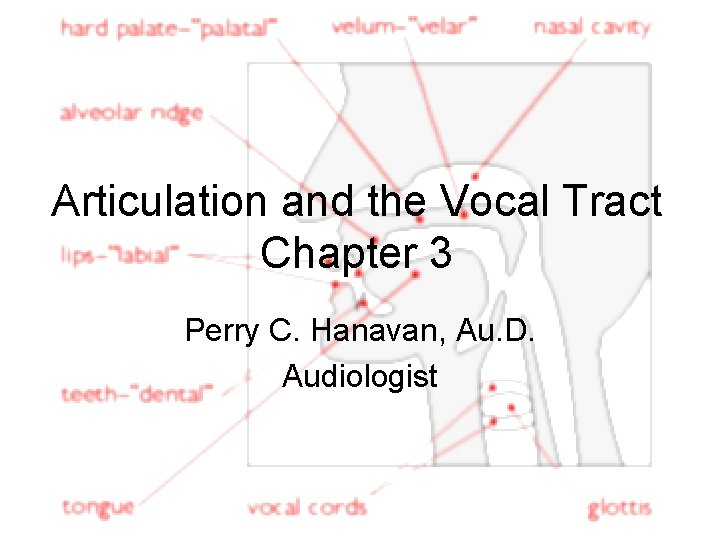 Articulation and the Vocal Tract Chapter 3 Perry C. Hanavan, Au. D. Audiologist