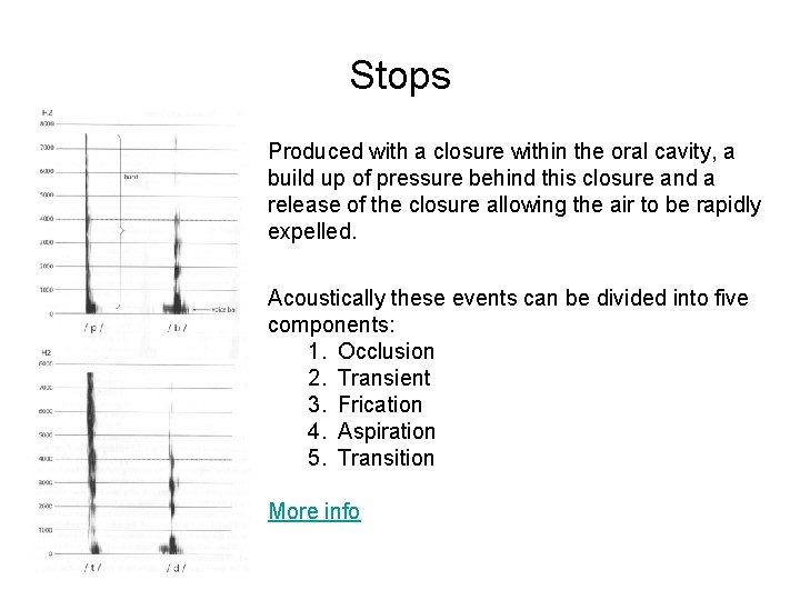 Stops Produced with a closure within the oral cavity, a build up of pressure