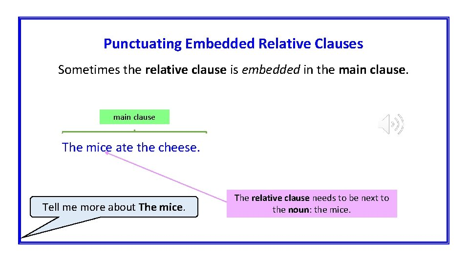 Punctuating Embedded Relative Clauses Sometimes the relative clause is embedded in the main clause