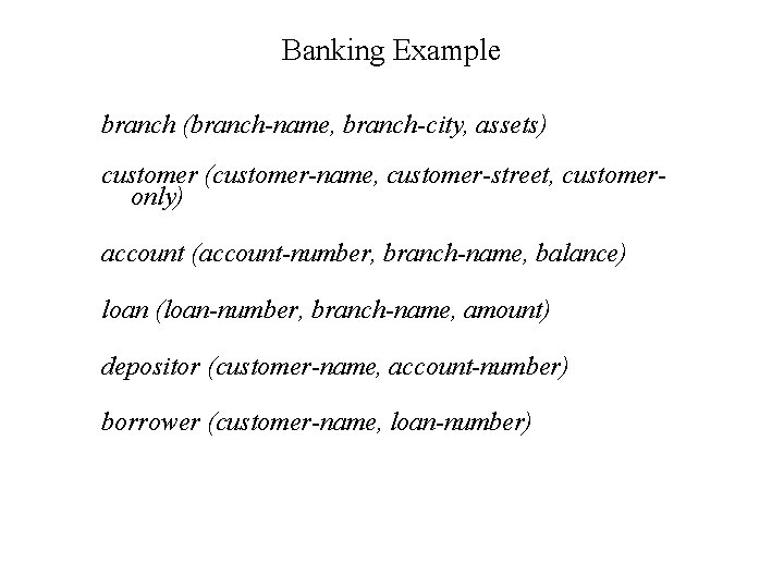 Banking Example branch (branch-name, branch-city, assets) customer (customer-name, customer-street, customeronly) account (account-number, branch-name, balance)