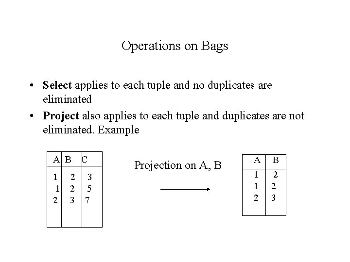 Operations on Bags • Select applies to each tuple and no duplicates are eliminated