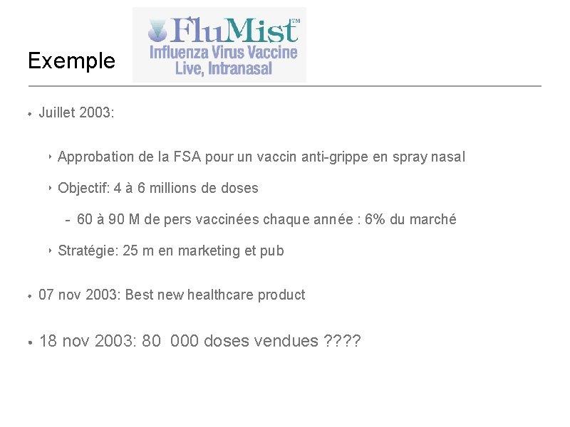 Exemple • Juillet 2003: ‣ Approbation de la FSA pour un vaccin anti-grippe en
