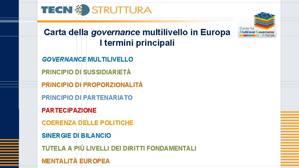 Carta della governance multilivello in Europa I termini principali GOVERNANCE MULTILIVELLO PRINCIPIO DI SUSSIDIARIETÀ