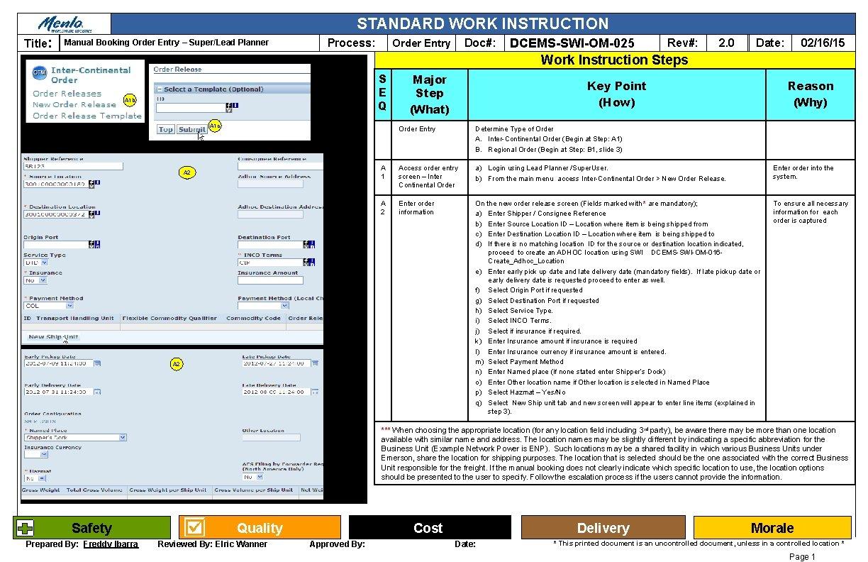 STANDARD WORK INSTRUCTION Title: Manual Booking Order Entry – Super/Lead Planner Process: Doc#: Order
