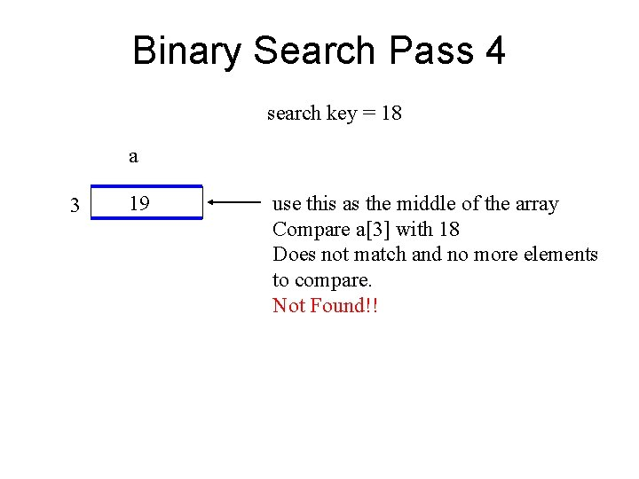 Binary Search Pass 4 search key = 18 a 3 19 use this as