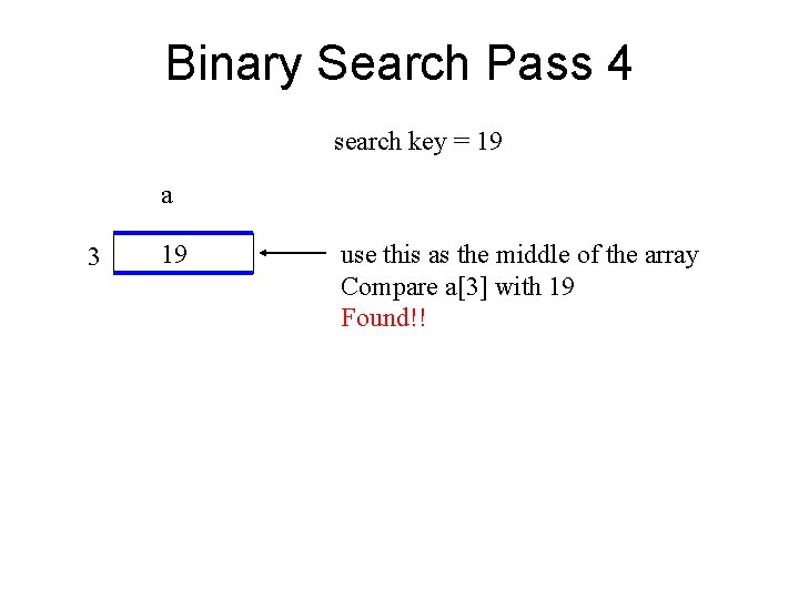 Binary Search Pass 4 search key = 19 a 3 19 use this as