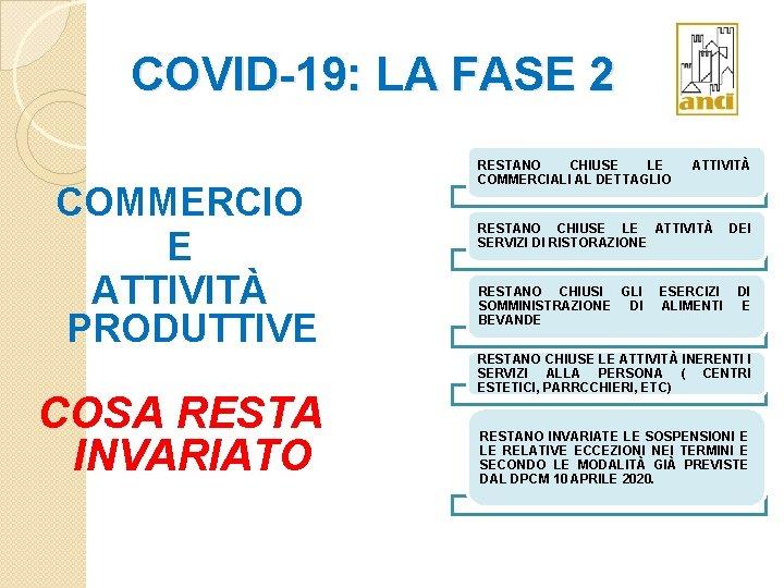 COVID-19: LA FASE 2 COMMERCIO E ATTIVITÀ PRODUTTIVE COSA RESTA INVARIATO RESTANO CHIUSE LE