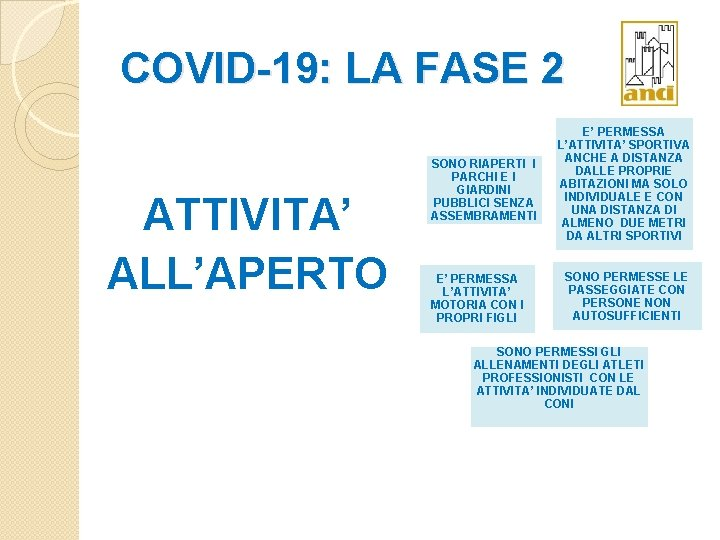 COVID-19: LA FASE 2 ATTIVITA' ALL'APERTO SONO RIAPERTI I PARCHI E I GIARDINI PUBBLICI