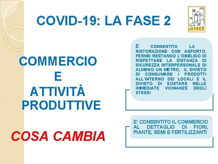 COVID-19: LA FASE 2 È COMMERCIO E ATTIVITÀ PRODUTTIVE COSA CAMBIA CONSENTITA LA RISTORAZIONE