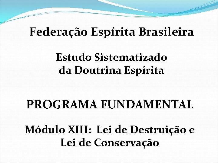 Federação Espírita Brasileira Estudo Sistematizado da Doutrina Espírita PROGRAMA FUNDAMENTAL Módulo XIII: Lei de