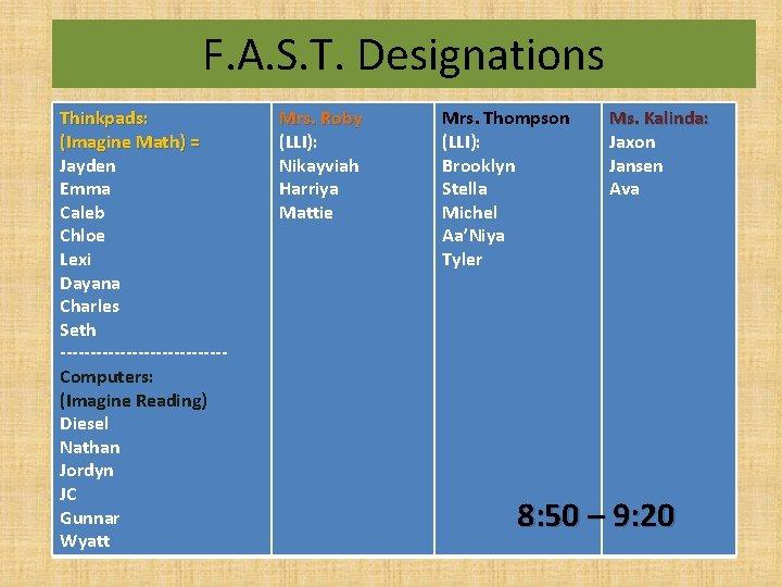 F. A. S. T. Designations Thinkpads: (Imagine Math) = Jayden Emma Caleb Chloe Lexi