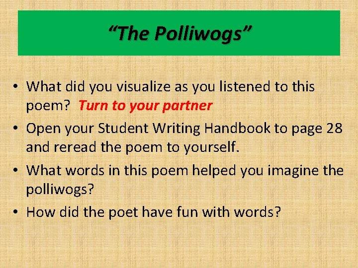 """""""The Polliwogs"""" • What did you visualize as you listened to this poem? Turn"""