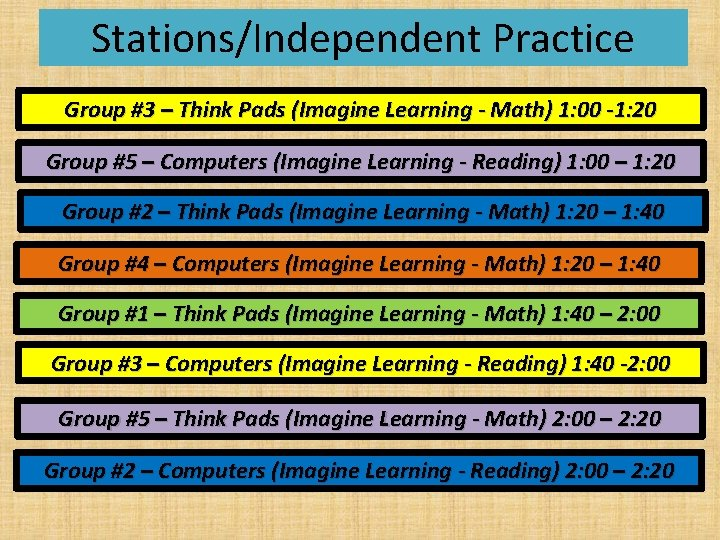 Stations/Independent Practice Group #3 – Think Pads (Imagine Learning - Math) 1: 00 -1: