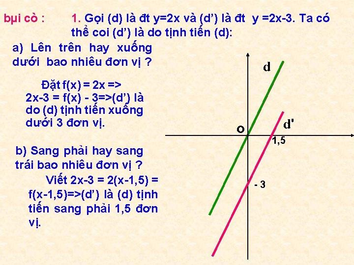 bµi cò : 1. Gọi (d) là đt y=2 x và (d') là đt
