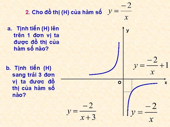 2. Cho đồ thị (H) của hàm số a. Tịnh tiến (H) lên trên