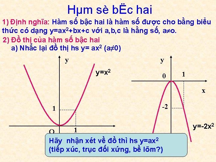 Hµm sè bËc hai 1) Định nghĩa: Hàm số bậc hai là hàm số