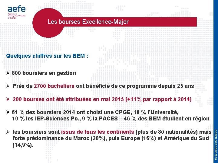 Les bourses Excellence-Major Quelques chiffres sur les BEM : 800 boursiers en gestion