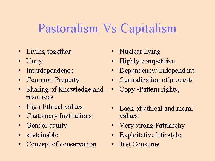 Pastoralism Vs Capitalism • • • Living together Unity Interdependence Common Property Sharing of