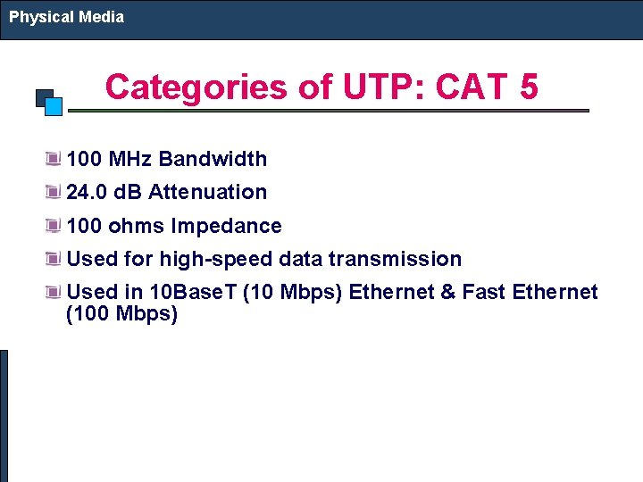 Physical Media Categories of UTP: CAT 5 100 MHz Bandwidth 24. 0 d. B