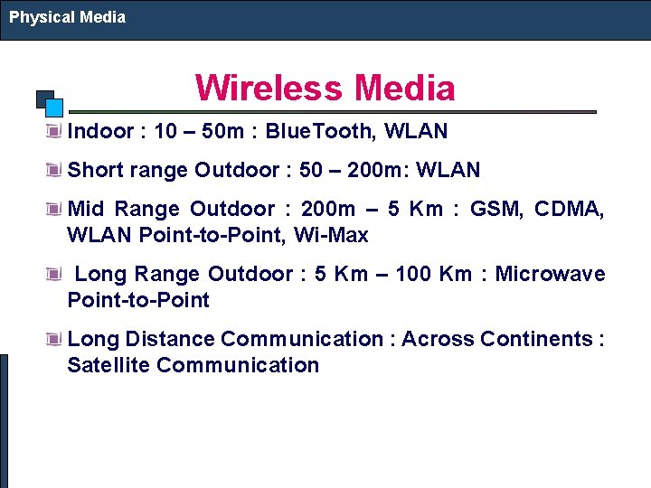 Physical Media Wireless Media Indoor : 10 – 50 m : Blue. Tooth, WLAN